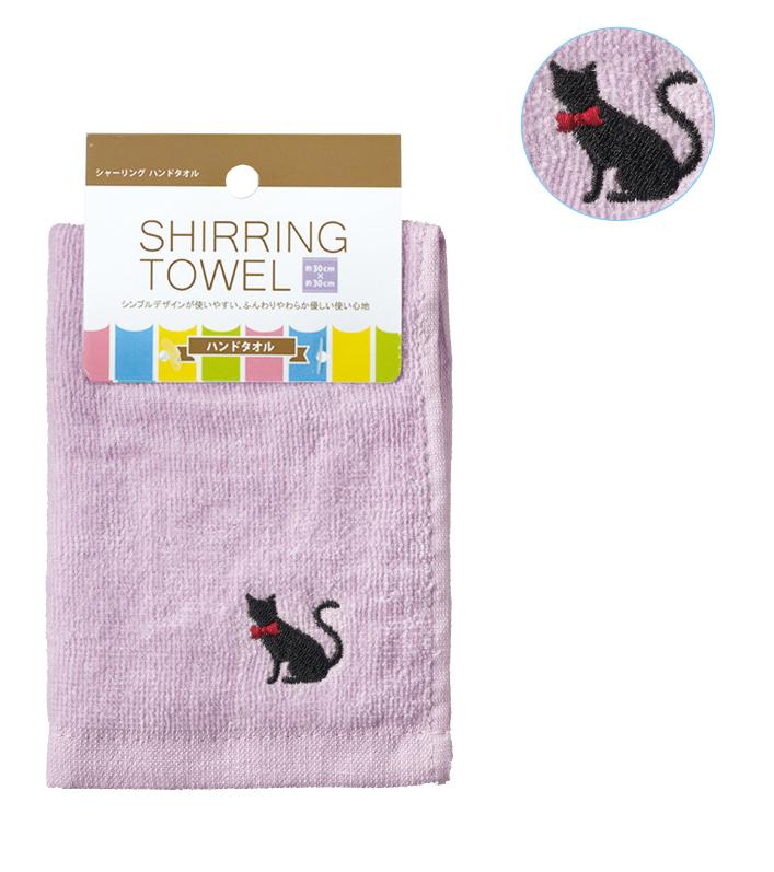 シャーリング  ハンドタオル パープル 猫