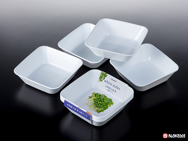 お料理小皿 角4Pホワイト