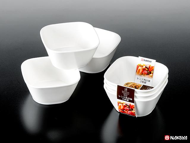 レンジ角豆鉢 3P 白