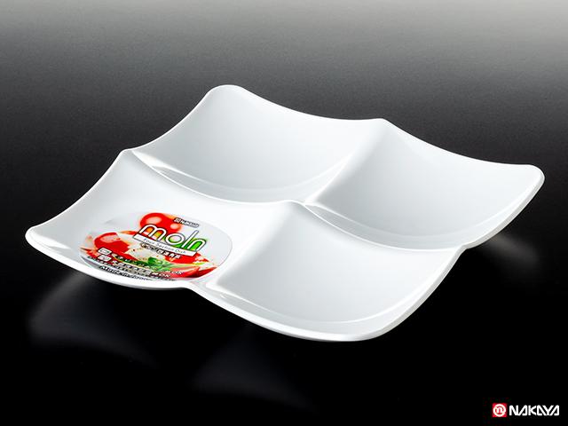 モルン四連角皿 ホワイト