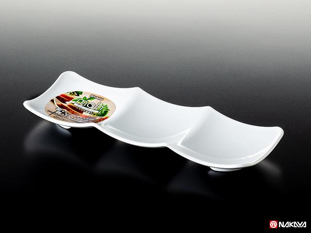 モルン三連角皿 ホワイト
