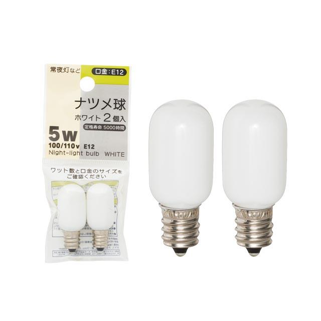 ナツメ球ホワイト/2P 100/110V 5W E12