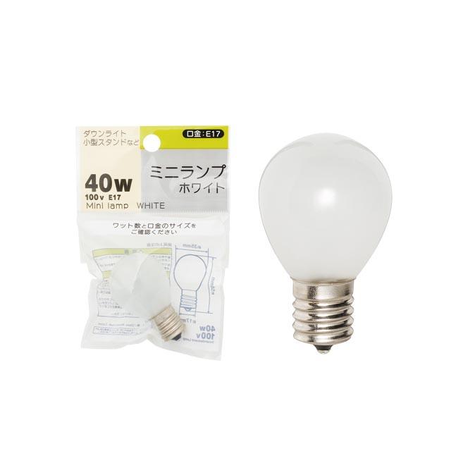 ミニランプ球ホワイト /1P 100V 40W E17