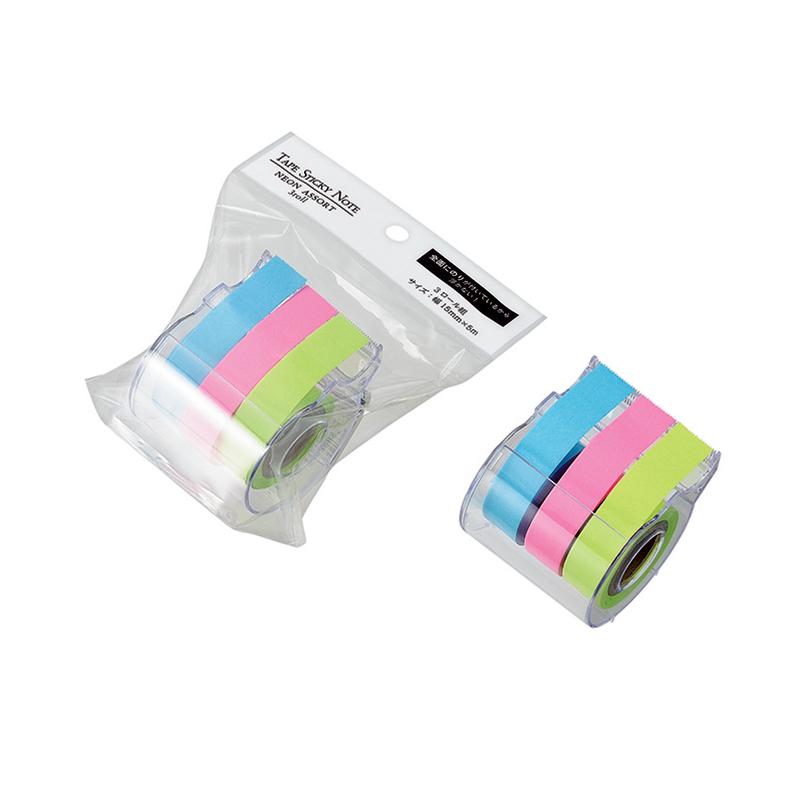 テープふせん紙 15㎜x5m(ネオン)3ロール組