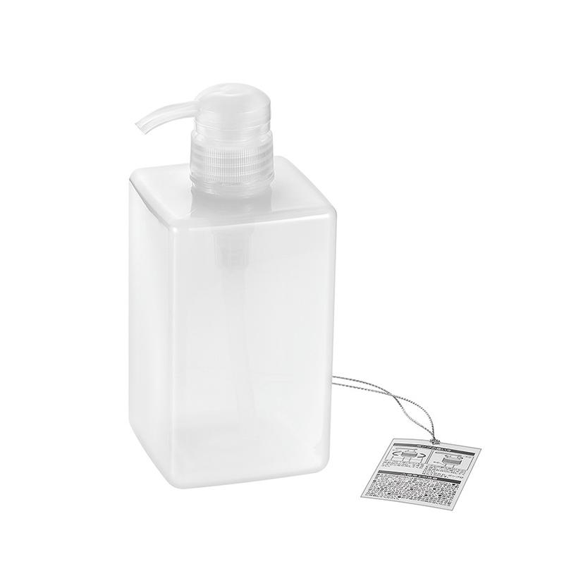 PETポンプボトル600ml 角型(シアーホワイト)